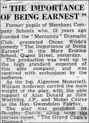 "Newspaper review of ""The Importance of Being Earnest"""