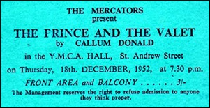 "Ticket for ""The Prince and the Valet"""