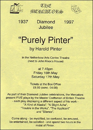 "Handbill for ""Purely Pinter"""