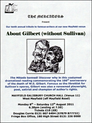 Flyer for About Gilbert (Without Sullivan)