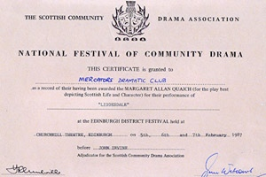 Liddesdale - SCDA One Act Festival certificate