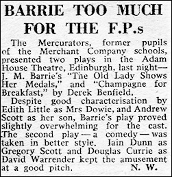 "Newspaper review of ""The Old Lady Shows her Medals"""