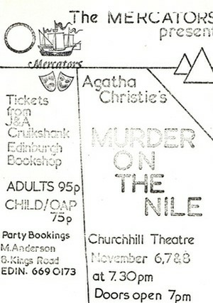 "Flyer (not one of our better efforts!) for ""Murder on the Nile"""