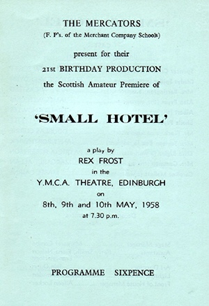 "Programme for ""Small Hotel"" - May 1958"