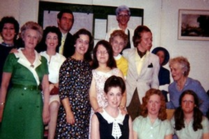 "The cast of ""Shadow in the Sun"" backstage at the Church Hill Theatre in 1972"