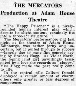 "Newspaper review of ""The Happy Prisoner"""