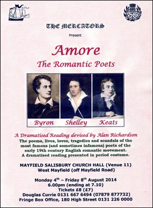 Amore - The Romantic Poets flyer