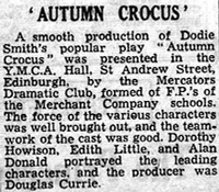 "Newspaper review of ""Autumn Crocus"""