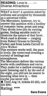 "Newspaper review for ""Love Is..."""