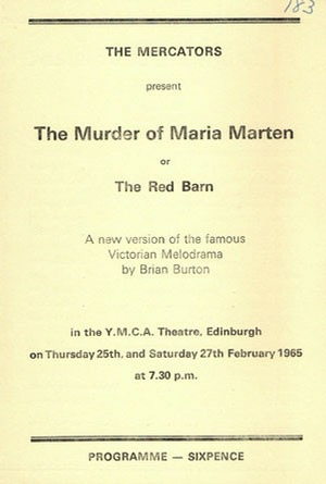 "Programme for ""The Murder of Marie Marten"""