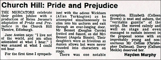 "Newspaper review for ""Pride and Prejudice"""