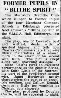 "Newspaper review of ""Blithe Spirit"""