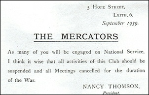 September 1939 notice to club members suspending activities for the duration of the war