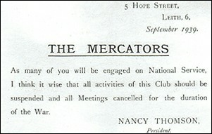Second World War notice to members