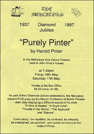 "Flyer for ""Purely Pinter"" (1997)"