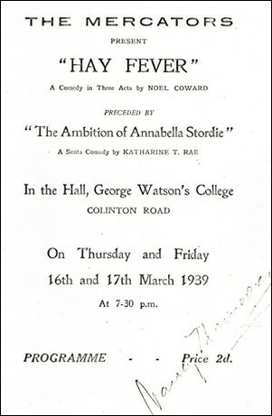 "Programme for ""The Ambition of Annabella Stordie"" & ""Hay Fever"""