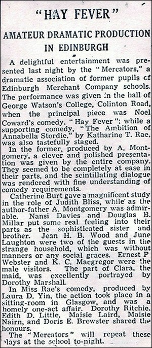 "Newspaper review of ""The Ambition of Annabella Stordie"" & ""Hay Fever"""